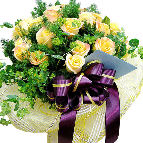 Yellow Roses With Seasonal Flowers Bouquet Send To Korea Flower Bouquets Delivery To Korea