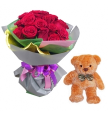 12 Red Roses with Teddy Bear Send to Korea