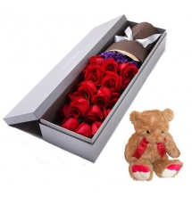 12 Red Roses in Box with Teddy Bear Send to Korea