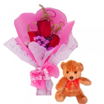 Teddy Bear with Red Roses Send to Korea