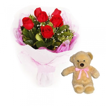 6 Red Rose in Bouquet with Teddy Bear Send to Korea